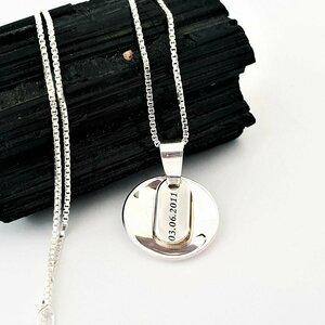 Lantisor personalizat - Pandantiv convex si placuta gravata - Argint 925