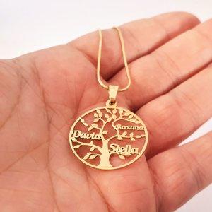 Lantisor premium - Copacul Vietii - personalizat cu nume - Argint 925 placat cu Aur galben 14K