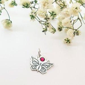 Pandantiv Fluture cu aripile deschise - Argint 925 - cristal Swarovski
