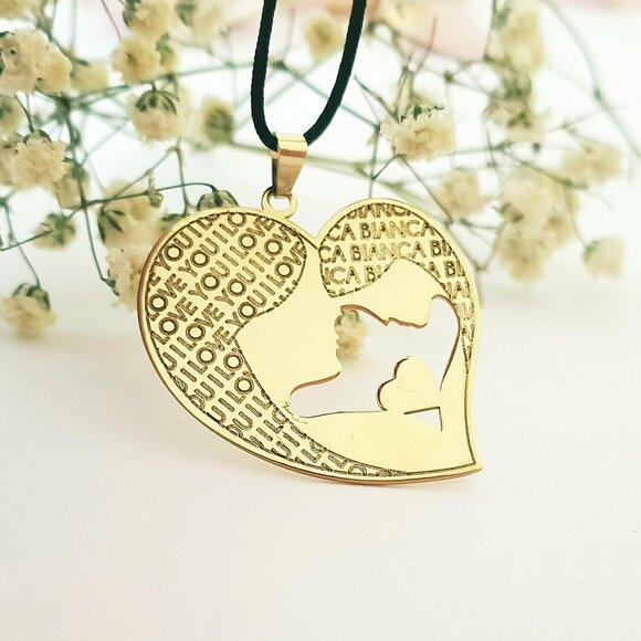 Pandantiv Inima - Mama si fiica - Aur Galben 14k