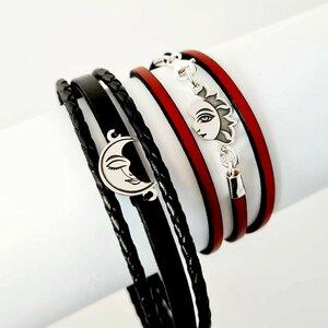 Set 2 bratari cu piele naturala rosie pentru EA si neagra pentru EL - Pandante Luna si Soare unite - Argint 925