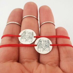 Set 2 bratari personalizate - Banut de 15 mm - Model gravat legatura surori/prietene - Argint 925 - snur reglabil