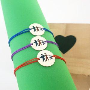 Set 3 bratari personalizate si decorate cu email colorat - Model familie 3 membri - Banuti Argint 925 - snur reglabil