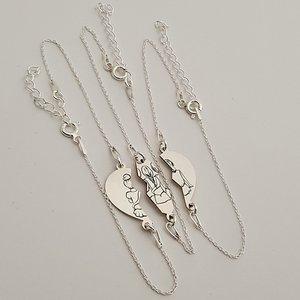 Set Cadou 3 bratari - inima puzzle - surori / prietene -  Argint 925, lantisor