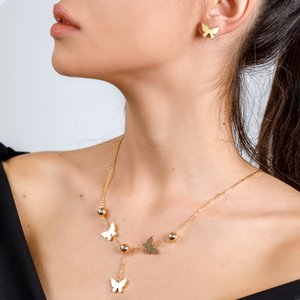 Set colier si cercei - Golden Butterflies - placat cu aur 18K