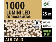 INSTALATIE TIP SIR 1000 LED, 25M, CU JOC, ALB CALD, CU FIR TRANSPARENT, CU TRANSFORMATOR, PENTRU INTERIOR/EXTERIOR