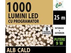 INSTALATIE TIP SIR 1000 LED, 25M, CU JOC, ALB CALD, CU TRANSFORMATOR, PENTRU INTERIOR/EXTERIOR