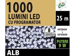 INSTALATIE TIP SIR 1000 LED, 25M, CU JOC, ALB, CU TRANSFORMATOR, PENTRU INTERIOR/EXTERIOR