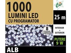 INSTALATIE TIP SIR 1000 LED, 25M, CU JOC, ALB, FIR TRANSPARENT, CU TRANSFORMATOR, PENTRU INTERIOR/EXTERIOR