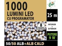 INSTALATIE TIP SIR 1000 LED, 25M, CU JOC, ALB SI ALB CALD, CU TRANSFORMATOR, PENTRU INTERIOR/EXTERIOR