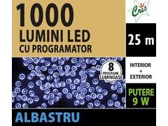 INSTALATIE TIP SIR 1000 LED, 25M, CU JOC, ALBASTRU, CU TRANSFORMATOR, PENTRU INTERIOR/EXTERIOR