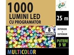 INSTALATIE TIP SIR 1000 LED, 25M, CU JOC, MULTICOLOR, CU TRANSFORMATOR, PENTRU INTERIOR/EXTERIOR
