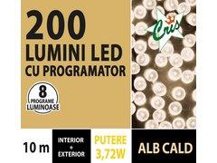 INSTALATIE TIP SIR 200 LED, 10M, CU JOC, ALB CALD, CU TRANSFORMATOR, PENTRU INTERIOR/EXTERIOR