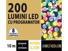 INSTALATIE TIP SIR 200 LED, 10M, CU JOC, MULTICOLOR, CU TRANSFORMATOR, PENTRU INTERIOR/EXTERIOR