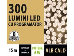 INSTALATIE TIP SIR 300 LED, 15M, CU JOC, ALB CALD, CU TRANSFORMATOR, PENTRU INTERIOR/EXTERIOR