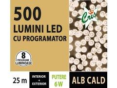 INSTALATIE TIP SIR 500 LED, 25M, CU JOC, ALB CALD, CU TRANSFORMATOR, PENTRU INTERIOR/EXTERIOR