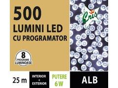 INSTALATIE TIP SIR 500 LED, 25M, CU JOC, ALB RECE, CU TRANSFORMATOR, PENTRU INTERIOR/EXTERIOR