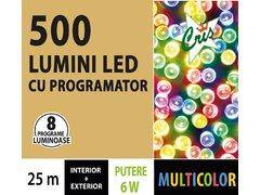 INSTALATIE TIP SIR 500 LED, 25M, CU JOC, MULTICOLOR, CU TRANSFORMATOR, PENTRU INTERIOR/EXTERIOR