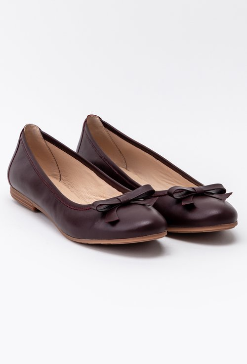 Balerini din piele nuanta ciocolatiu accesorizati cu funda