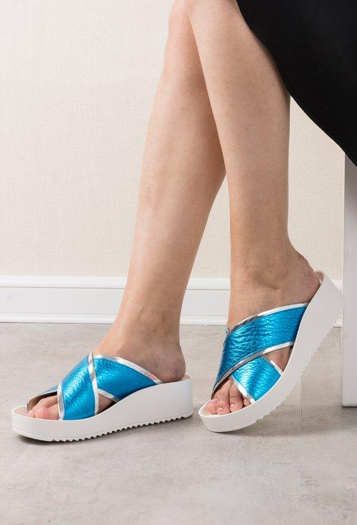 Sandale albastru metalizat cu alb si argintiu din piele naturala Sheila
