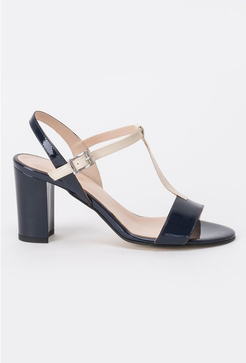 Sandale bleumarin cu crem din piele naturala Leia
