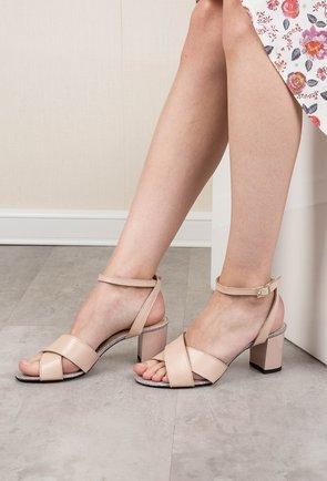 Sandale nude din piele naturala Latifa
