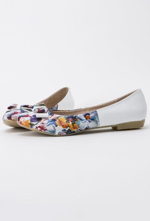 Balerini albi cu imprimeu floral din piele naturala Amira