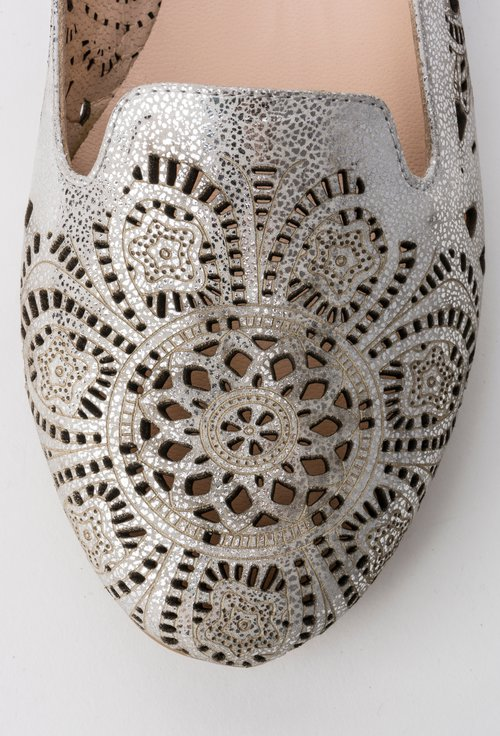 Balerini argintii din piele naturala Anitta