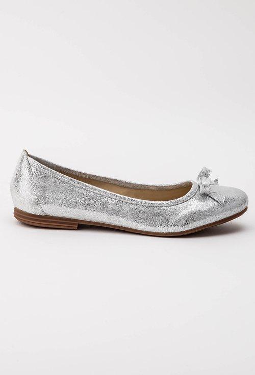 Balerini argintii din piele naturala Lucinda