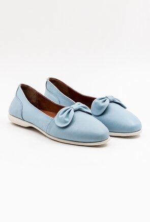 Balerini baby blue din piele cu funda si talpic buretat