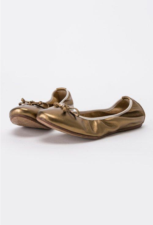 Balerini bronz-aurii din piele naturala Keren