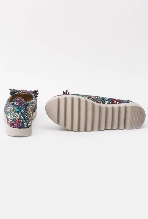 Balerini din piele naturală cu imprimeu colorat Yris