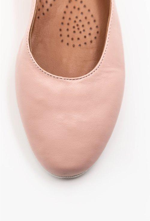 Balerini din piele naturala roz cu talpic buretat
