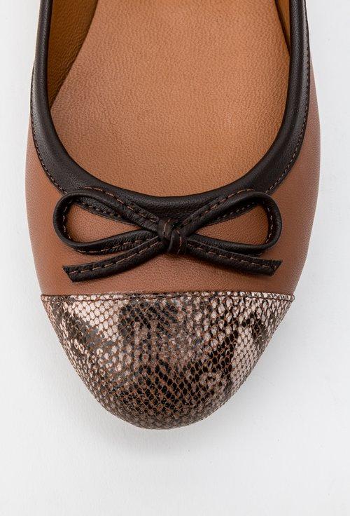 Balerini maro din piele naturala cu detaliu snake print Sofy