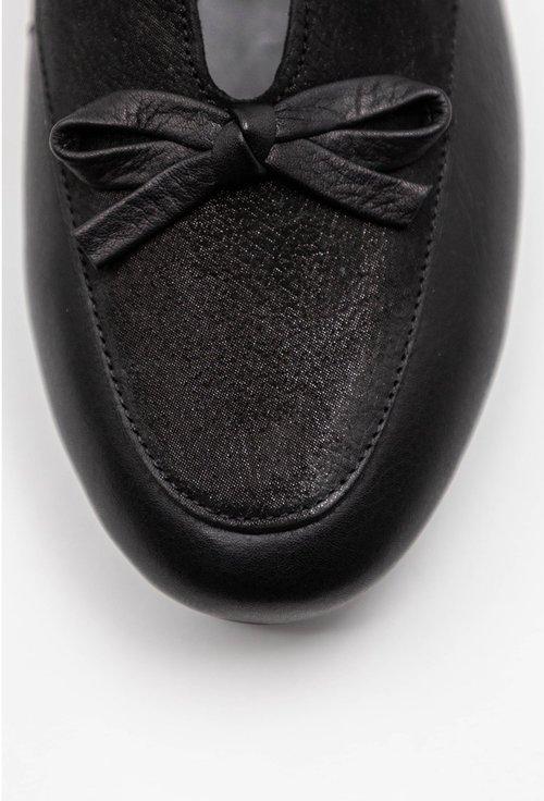 Balerini negri din piele naturala cu detaliu funda