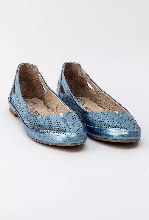 Balerini nuanta albastru metalizat din piele naturala Iris