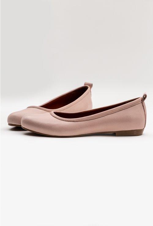 Balerini nuanta roz pal din piele naturala