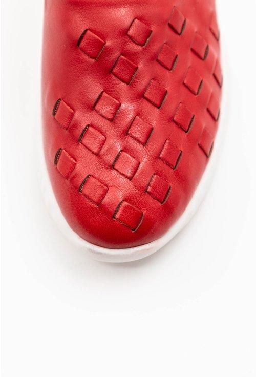 Balerini rosii din piele naturala cu aspect impletit