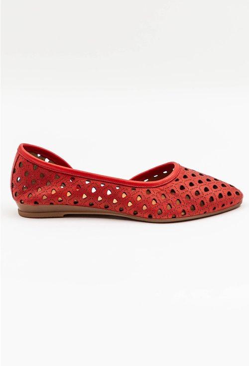 Balerini rosii din piele naturala perforata
