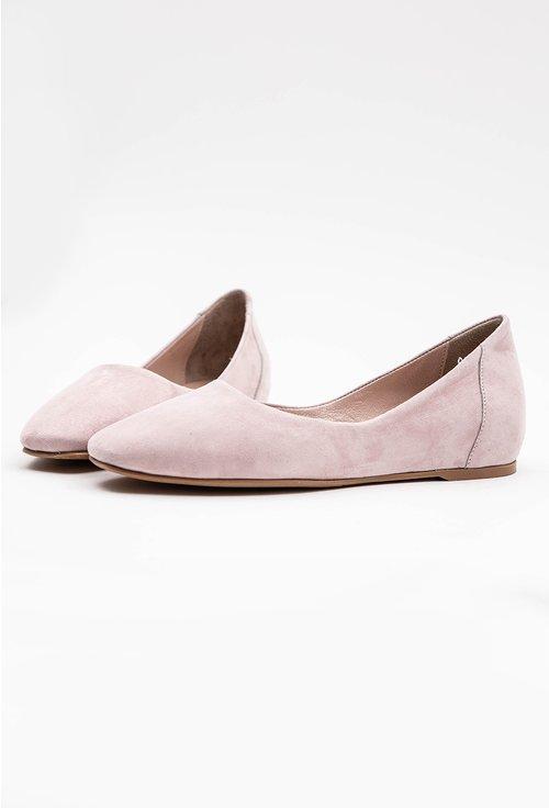 Balerini roz din piele naturala intoarsa