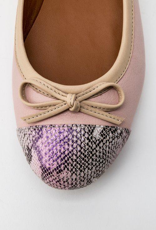 Balerini roz pal din piele naturala cu detaliu snake print Sofy