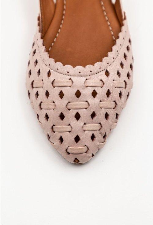 Balerini roz pal din piele naturala perforata