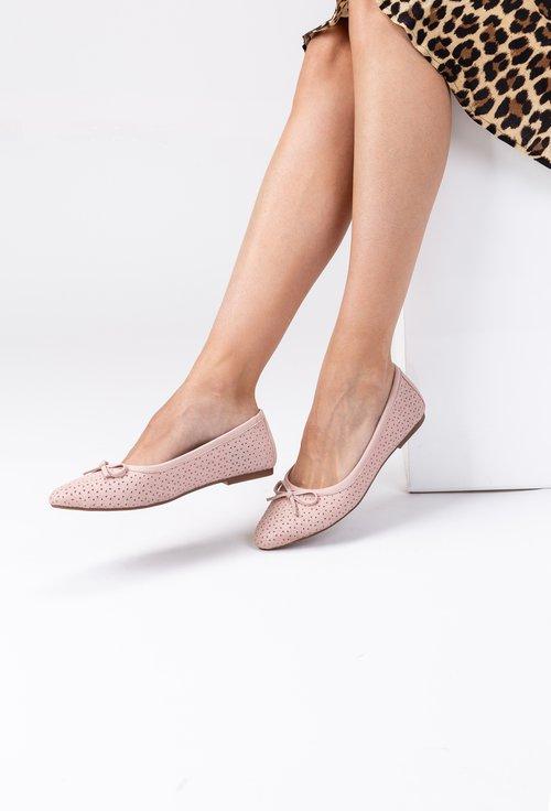 Balerini roz pal din piele naturala Terma