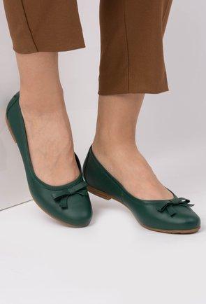 Balerini verde inchis din piele naturala Amber
