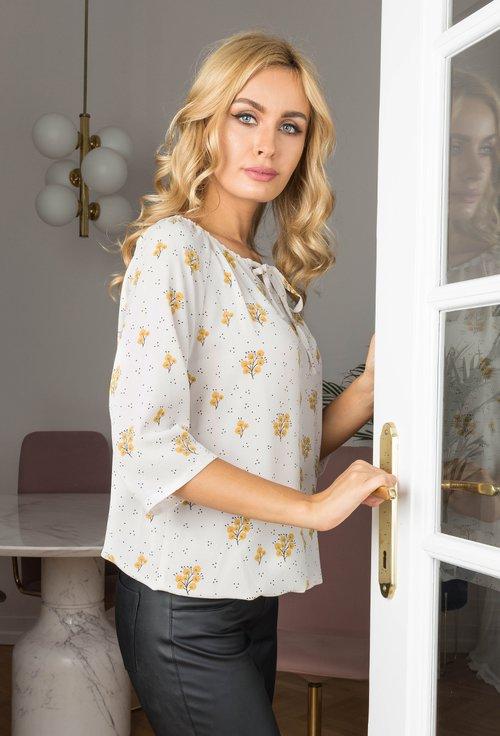 Bluza crem cu imprimeu floral Rebeka