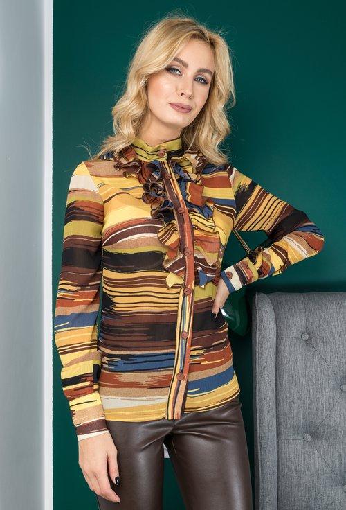 Bluza multicolora cu volanase Otilia