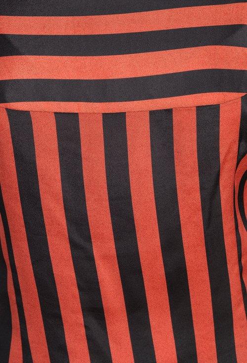 Bluza office rosu caramiziu cu dungi Amora