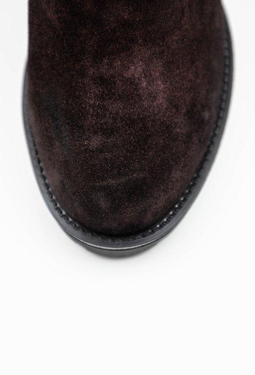 Botine bordo inchis din piele naturala cu insertii sclipitoare si flori