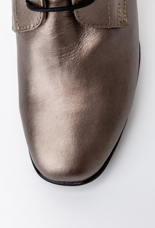 Botine cu siret nuanta bronz sidefat din piele naturala