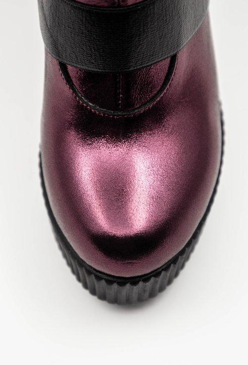 Botine din piele naturala nuanta burgundy sidefat